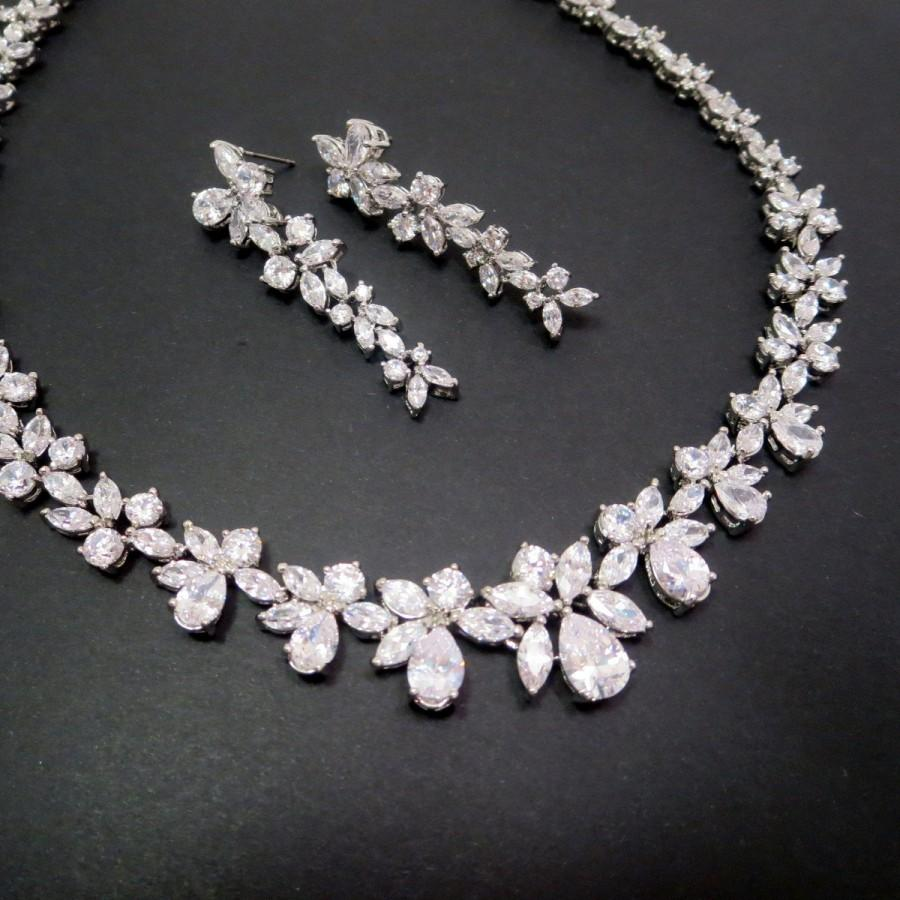 Bridal Necklace Set Wedding Jewelry Crystal Rhinestone Cz Earrings Cubic Zirconia