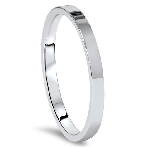 New 10K Solid White Gold 2mm Flat Men s And Women s Wedding Band