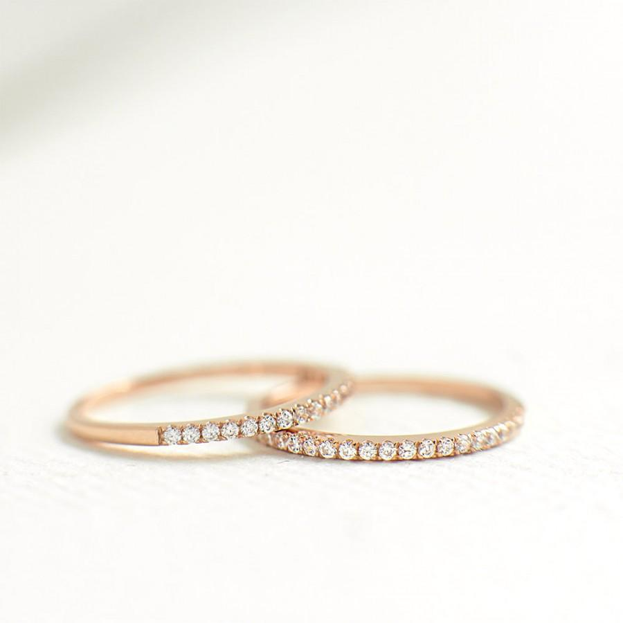 Rose Gold Half Eternity Rings 1mm Stacking Ring Thin Band Wedding For Women