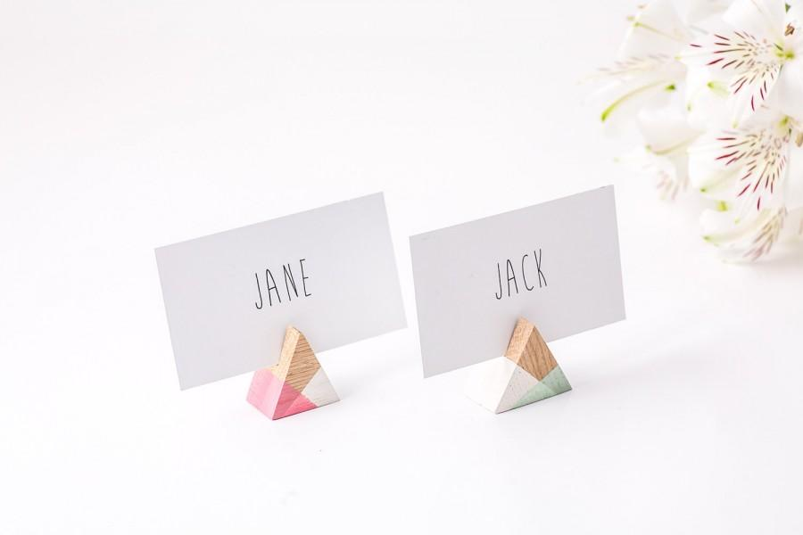 30 Geometric Wooden Place Card Holders Triangle Shape Perfect Modern Wedding Reception Custom And Color Made For Your Guests