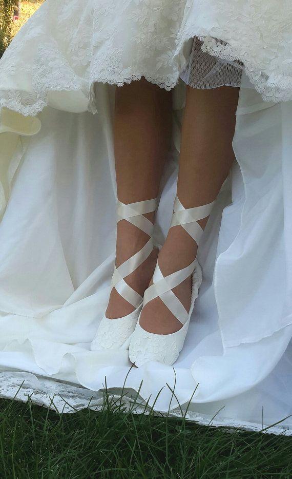 Lace Ballerina Style Bridal Shoe Ivory Flat Wedding Cream Off White Slipper