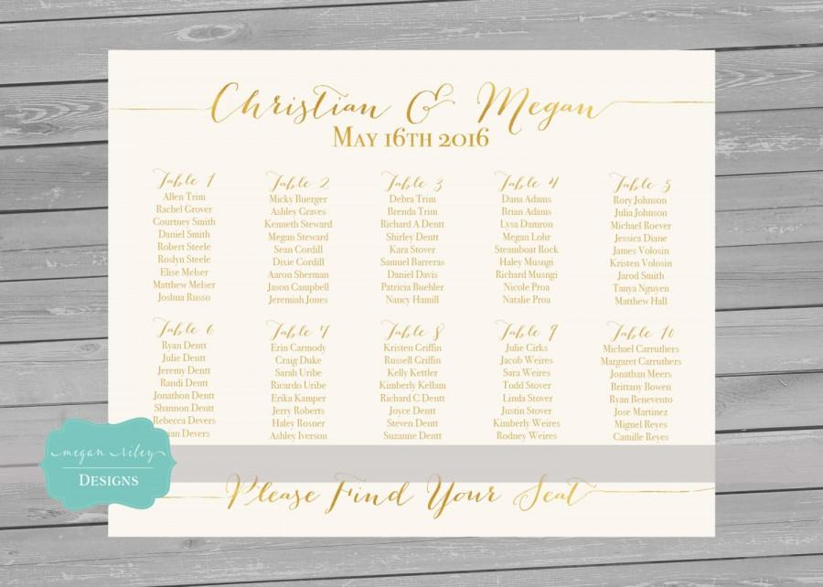 Printable Seating Chart Gold Foil Faxu Wedding Alphabetical Decoration