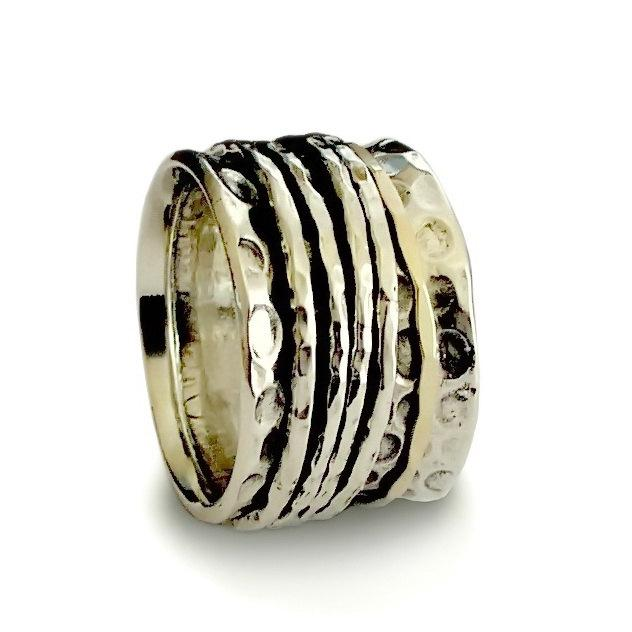 Rustic Spinner Wedding Ring Wide Mixed Metals Spinners Stacking Sterling Silver Band And Gold Modern Engagement Uni