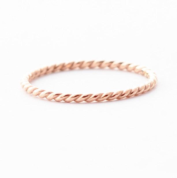 Rose Gold Wedding Band 18k Twist