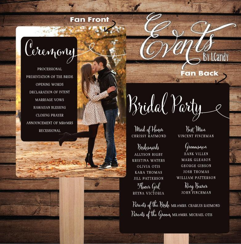 Printed Sample For 2 Dollars Or Sets Of 50 Custom Wedding Program Fans Photo Fan