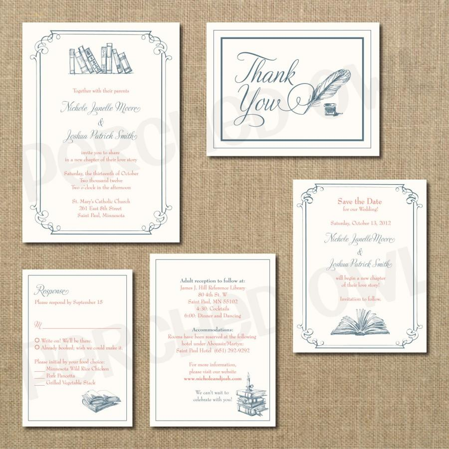 Vintage Library Wedding Invitation Rsvp Enclosure Card Save The Date Thank You Digital File