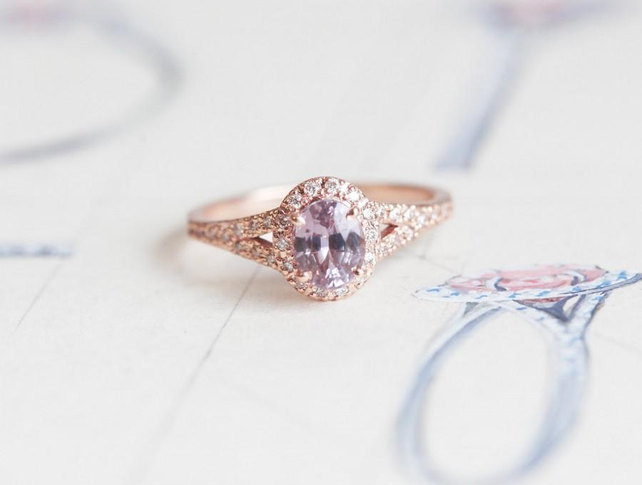 Peach Shire Ring Pink Engagement Split Shank Halo Oval