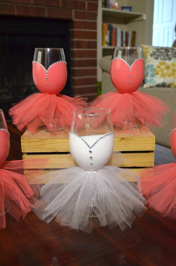 Bridal Party Wine Gles Hand Painted