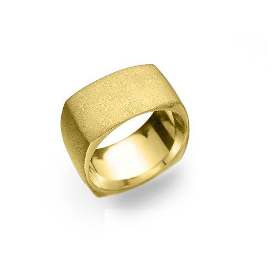 Kab Ring Kabbalah Wedding Band Wide Geometric Square