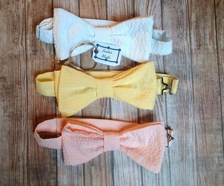 Groomsmen Bow Ties Rustic Wedding Yellow Tie Peach White Custom Mens