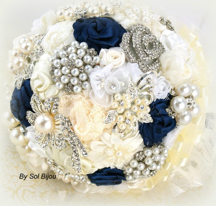 Brooch Bouquet Navy Blue Ivory Cream White Wedding Vintage Bridal Lace Jeweled Pearls Crystals