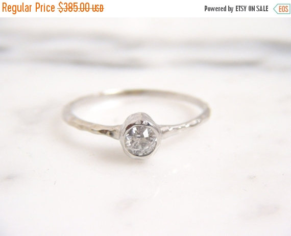 ON SALE Old European Cut Diamond Solitaire Engagement Ring 14k