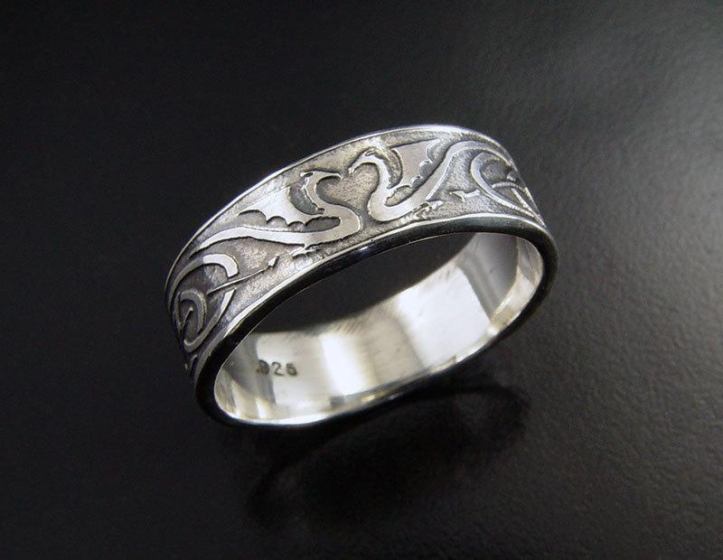 Man S Dragon Heart Wedding Ring Sterling Silver Celtic Style Design Unique For