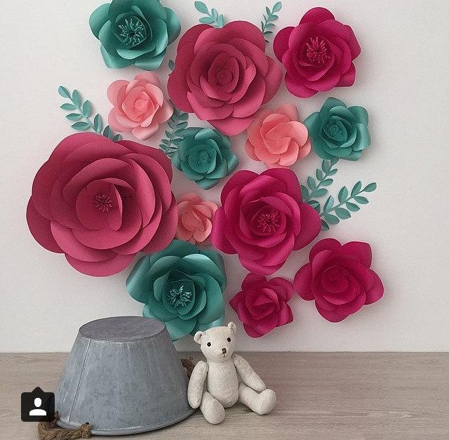 Top Set Of 13 Large Paper Flowers - Paper Flowers -Paper Flower Wall  JI38