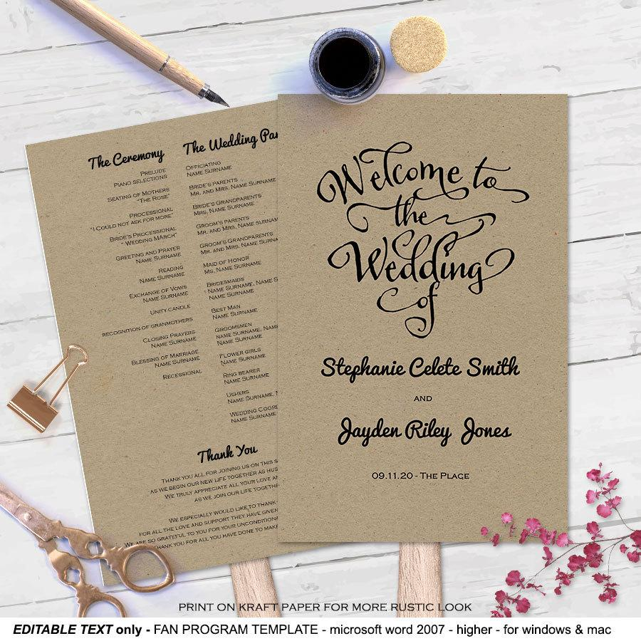 Modern Rustic Diy Wedding Program Fan Template