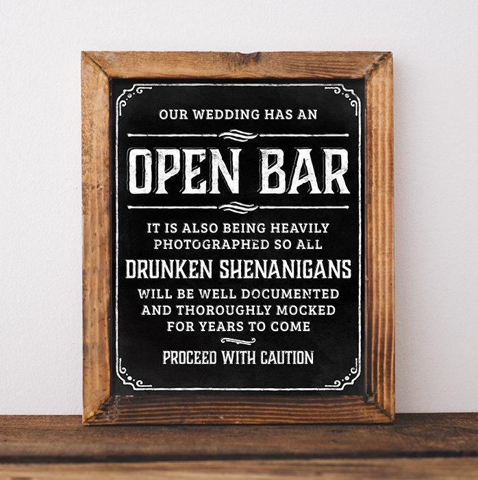 Chalkboard Wedding Signs Printable Open Bar Sign For Rustic Poster