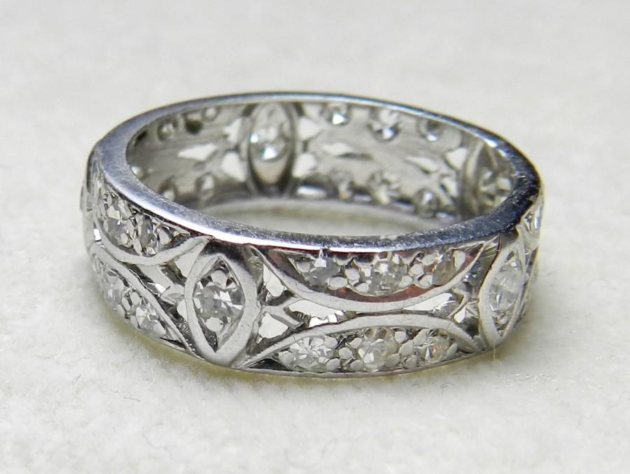 Platinum Eternity Ring 87 Ct Diamond Wedding Band 1920s Antique Art Deco Half Stacking