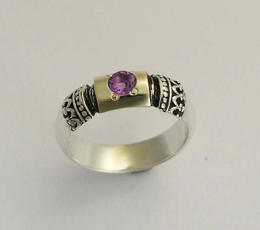 Gemstone Ring Sterling Silver Band Amethyst Ring Silver Gold