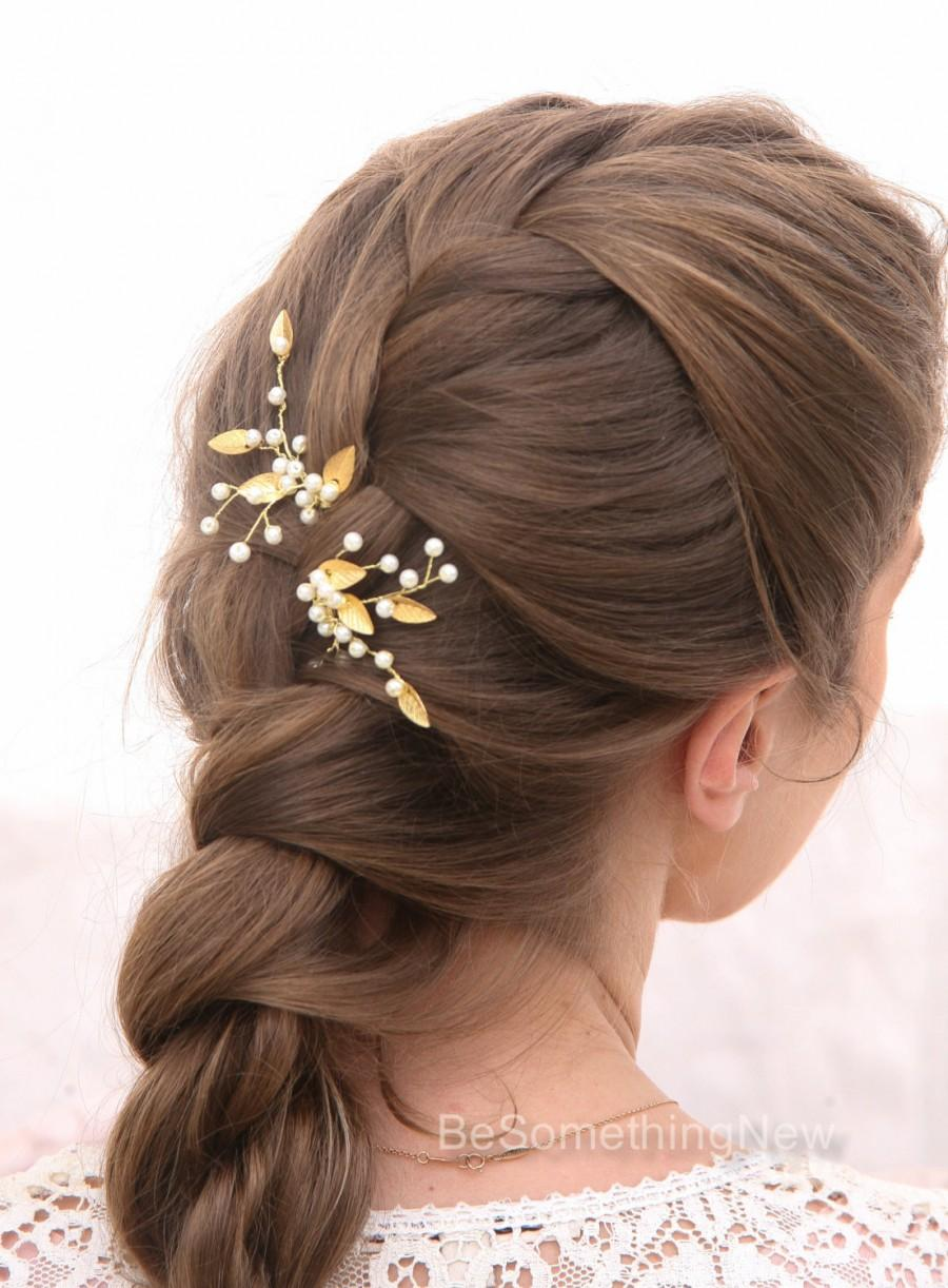 gold leaf bridal hair pins wedding hair accessories, bridal hair