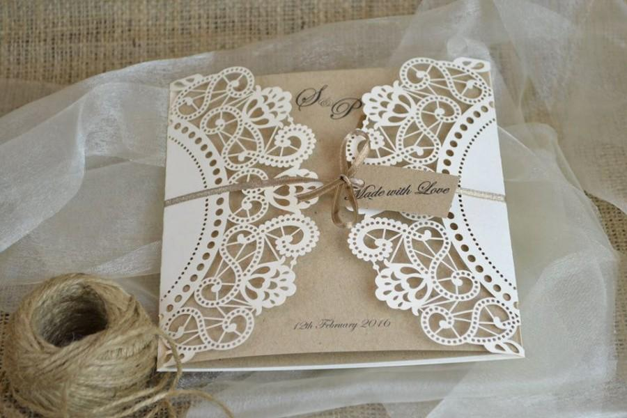 Laser Cut Wedding Invitation Doily Invite Rustic