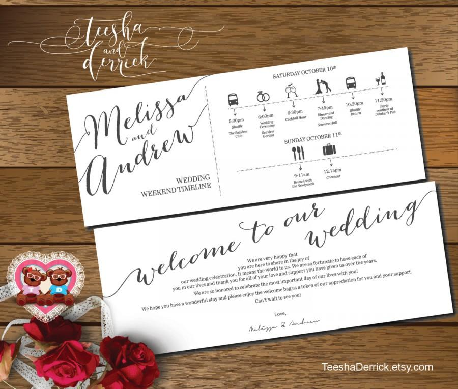 Printable Wedding Weekend Timeline T0100 Itineraries With Welcome Note For Bags In Typography Theme