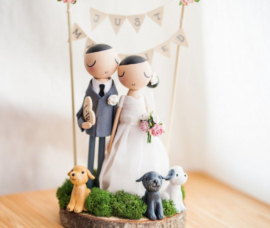wedding cake toppers wooden dolls rustic wedding cake topper cake topper wooden topper 26642