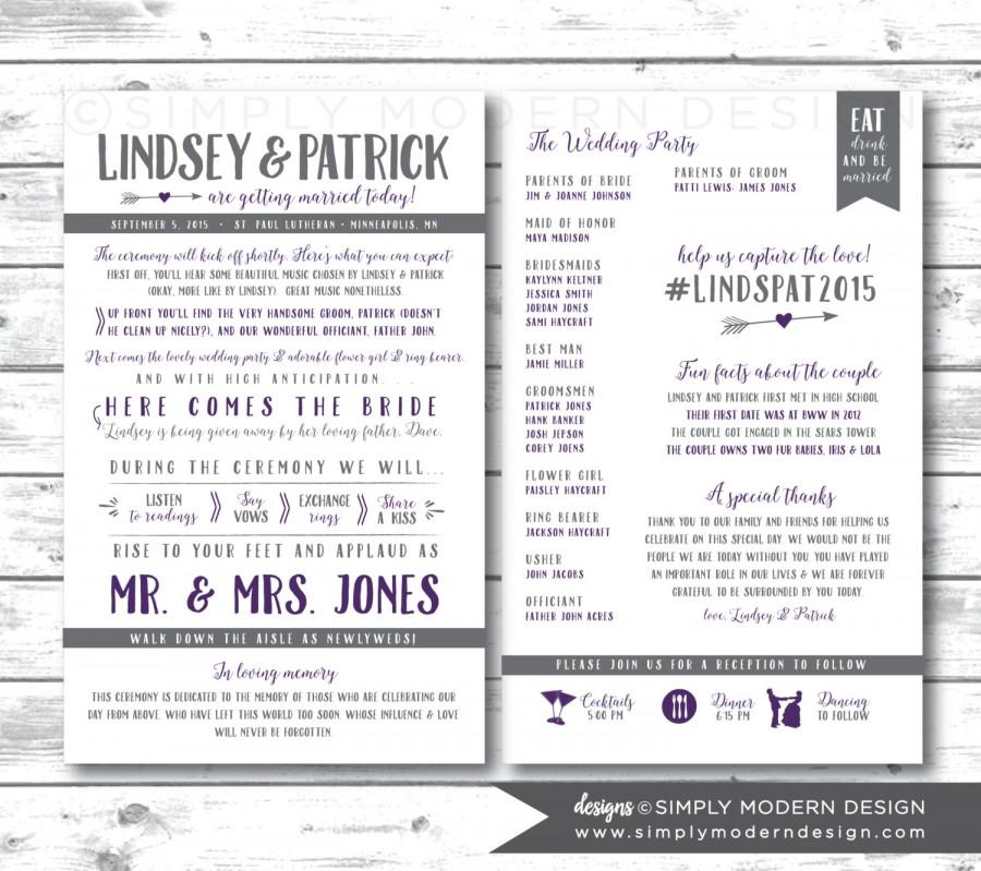 Rustic Double Sided Wedding Program Arrows Fan Timeline Itinerary Printable Or Printed Programs