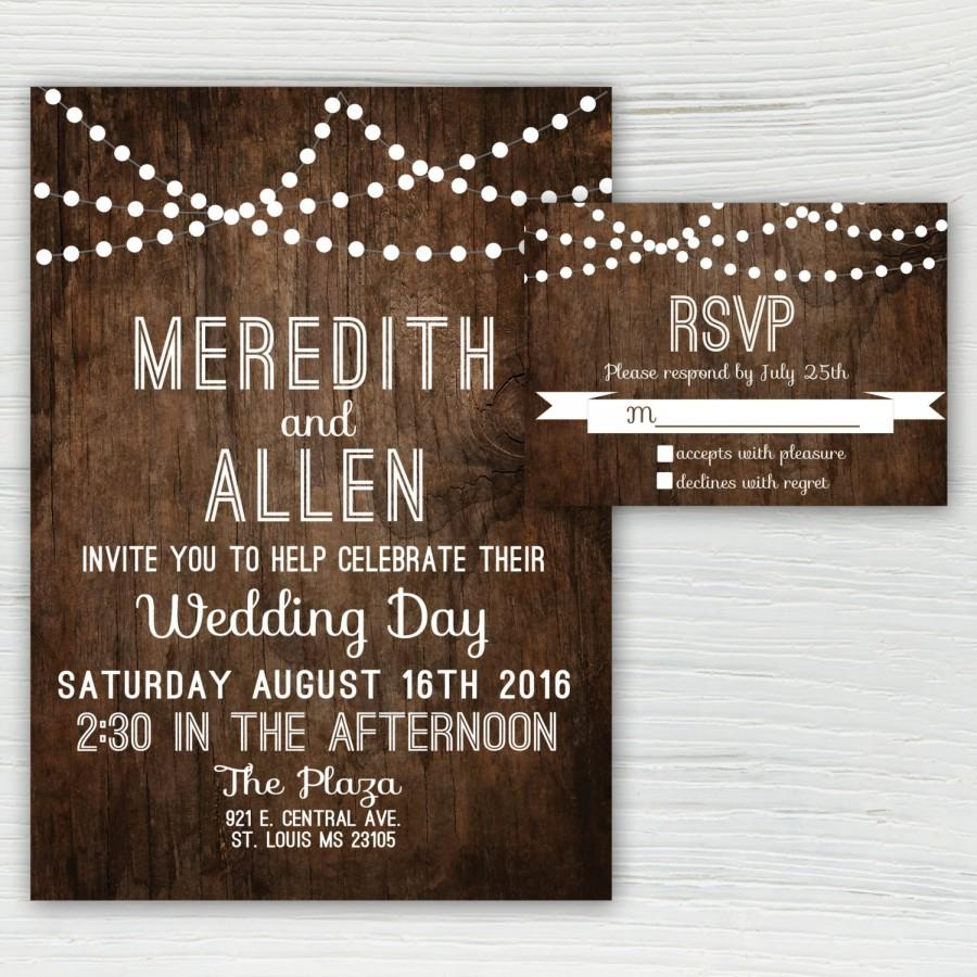 Rustic Wood Wedding Invitation Country String Light White