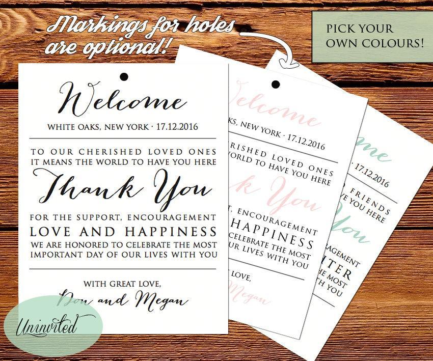 Wedding Tag Printable Tags Welcome Bags Card Thank You Bag