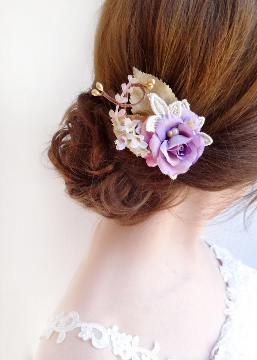 bridesmaid hairpiece, bridal hair clip, light purple hair