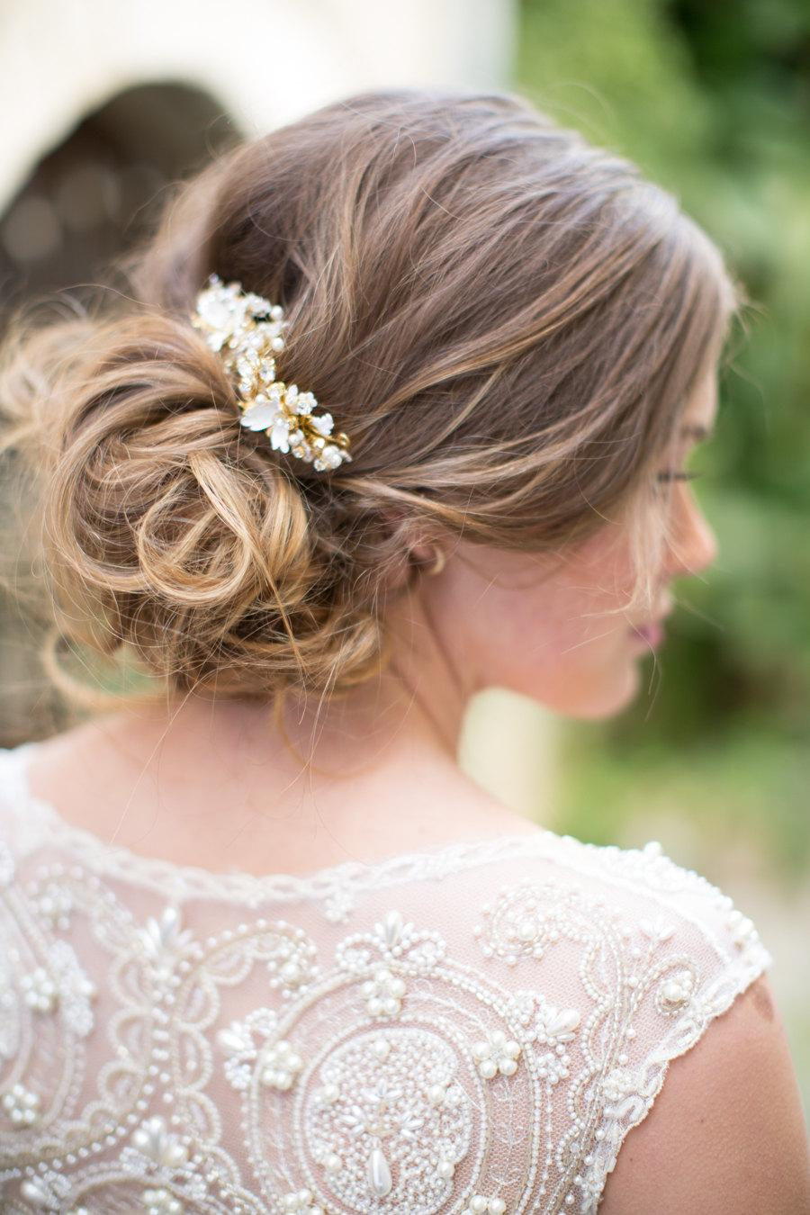 wedding hair accessory, beaded bridal hair comb set, floral