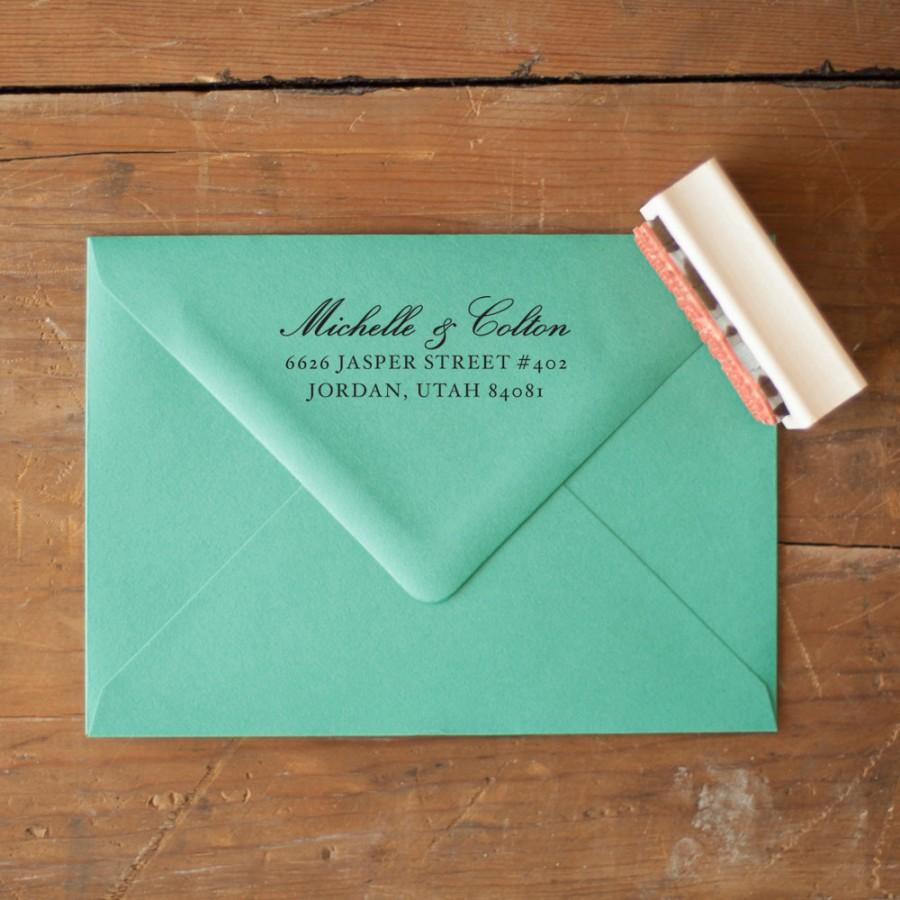 Custom Return Address Stamp Wedding Invitation Rustic Stationery Handwriting Invitations Calligraphy