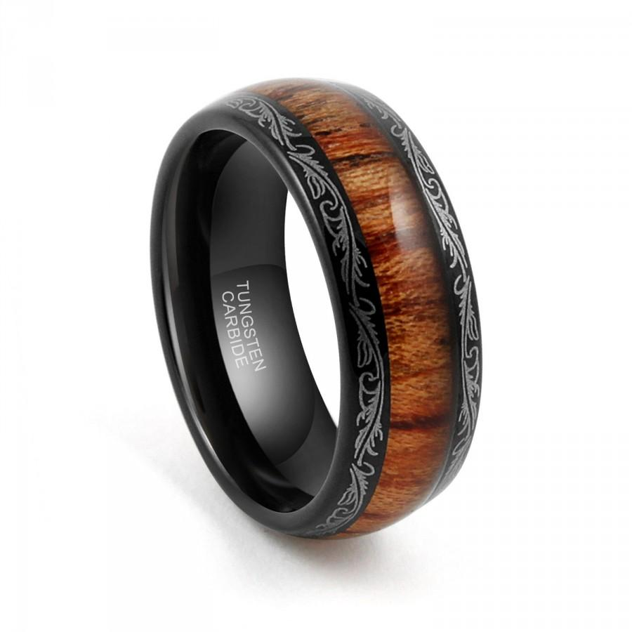 Tungsten Wedding Band Carbide Ring 8mm Black Mens Wood Inlay Dome Edge