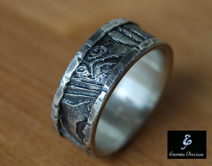 Unique Silver Wedding Band Cuttlebone Rustic Mens Ring Engagement