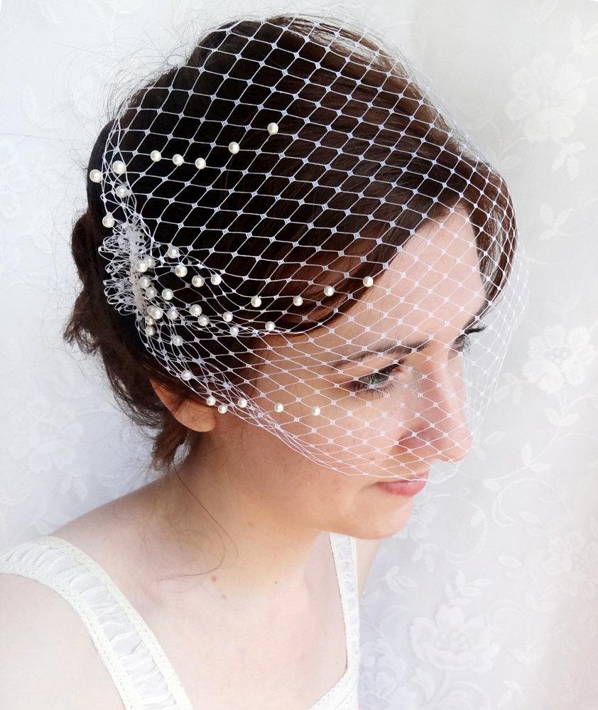 birdcage veil with pearls, wedding bandeau veil, small
