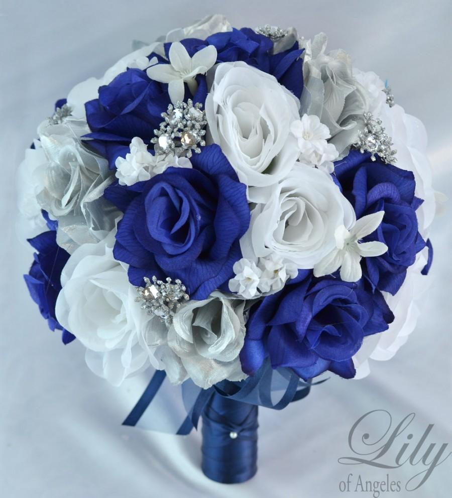 17 Piece Package Wedding Bouquet Bride Silk Flowers Bridal Bouquets Decorations Centerpieces Navy Blue Silver White Lily Of Angeles Blsi01