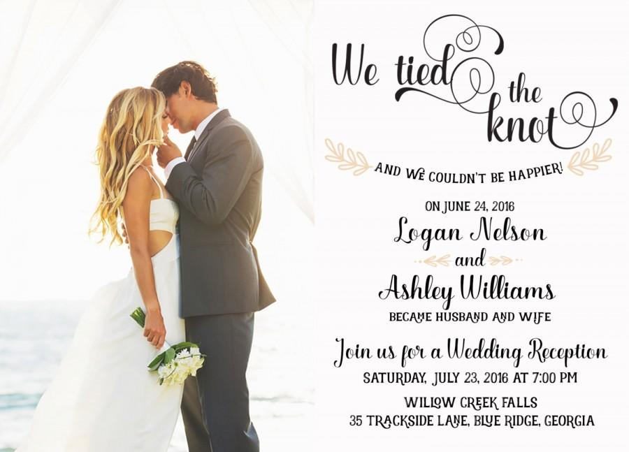Wedding Reception Invitation We Tied The Knot Elopement Announcement
