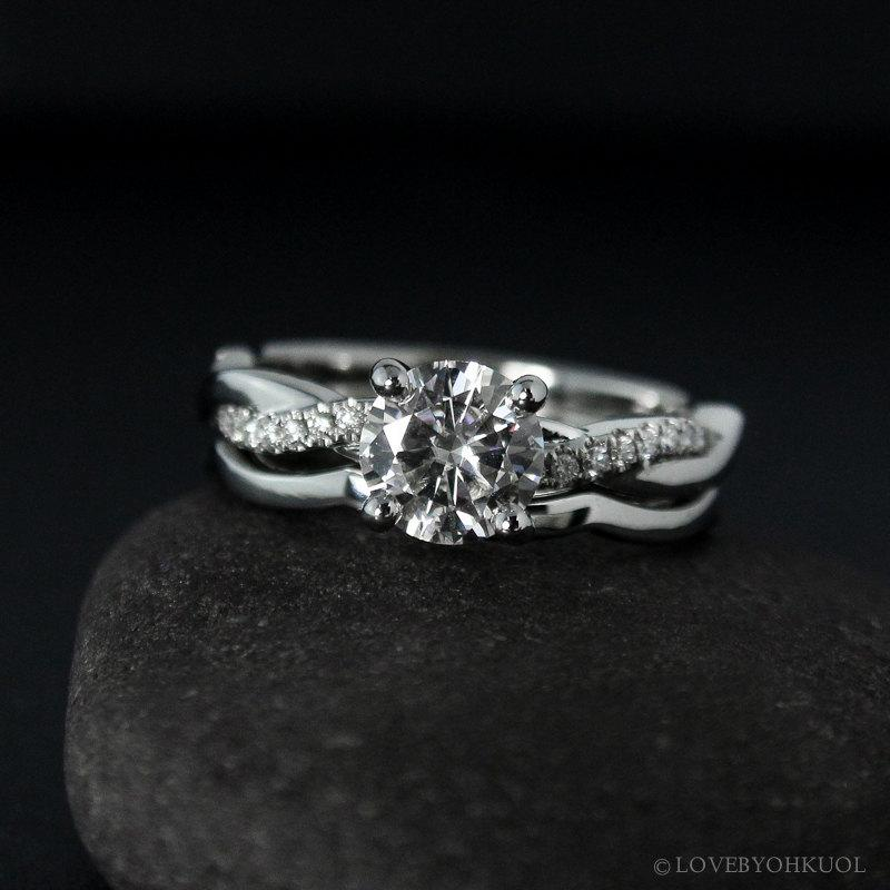 Forever One Moissanite Engagement Ring On Twisted Vine Band Modern Clic Bride Matching Set