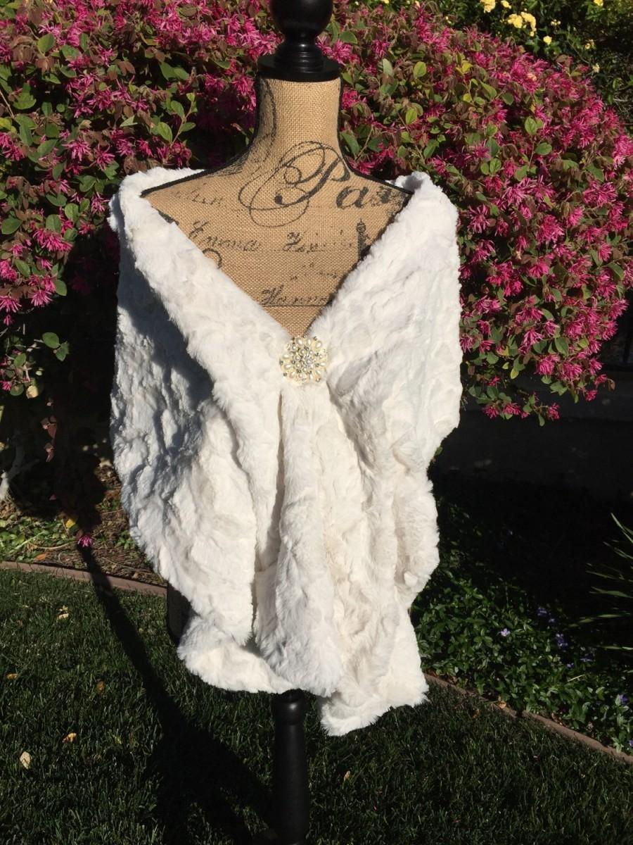 Cream Faux Fur Wrap Wedding Stole Bridal Shawl Bridesmaid Winter Night Out Formal Wear Prom Ivory