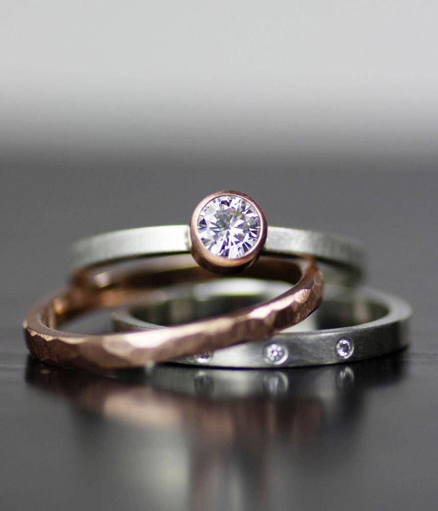 Modern Wedding Band Set Gold And Diamond Stacking Ring Handmade Engagement Womens Mens