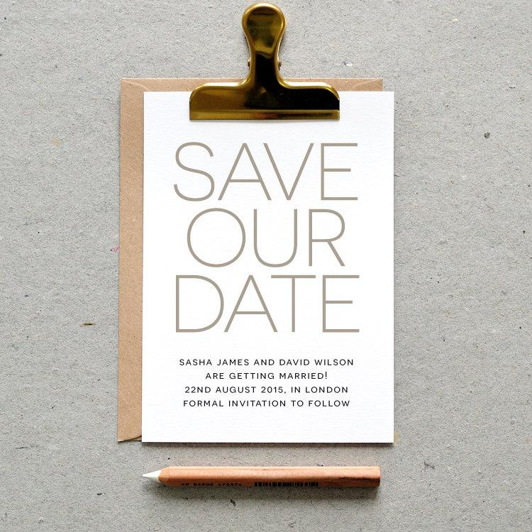 Printable Wedding Save The Date Pdf Modern Minimal Simple Elegant Card Silver Grey Gray Digital File Only Printing Also Available