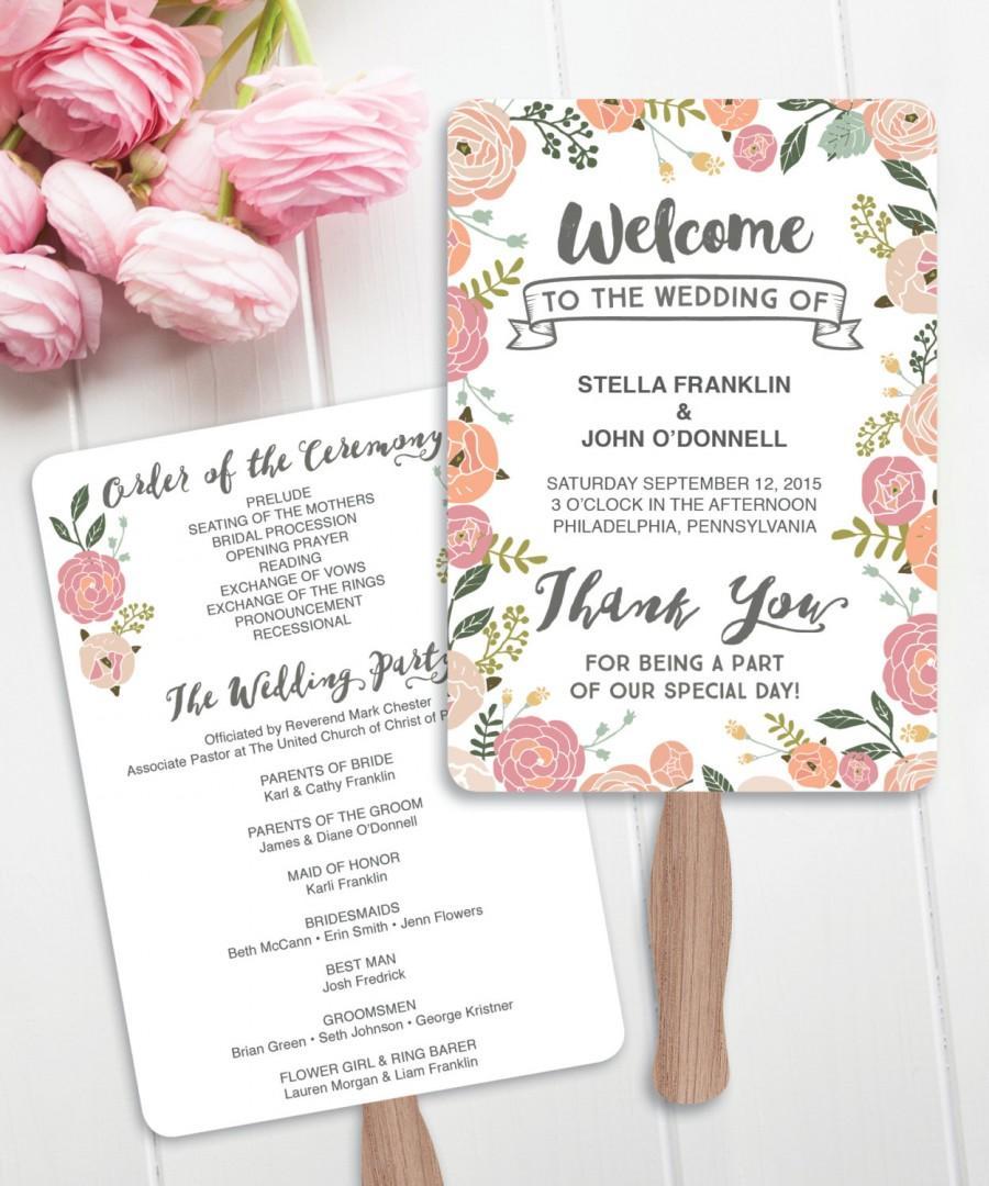 Wedding Fan Programs Diy Printable Vintage Rose Program Editable Instant Rustic