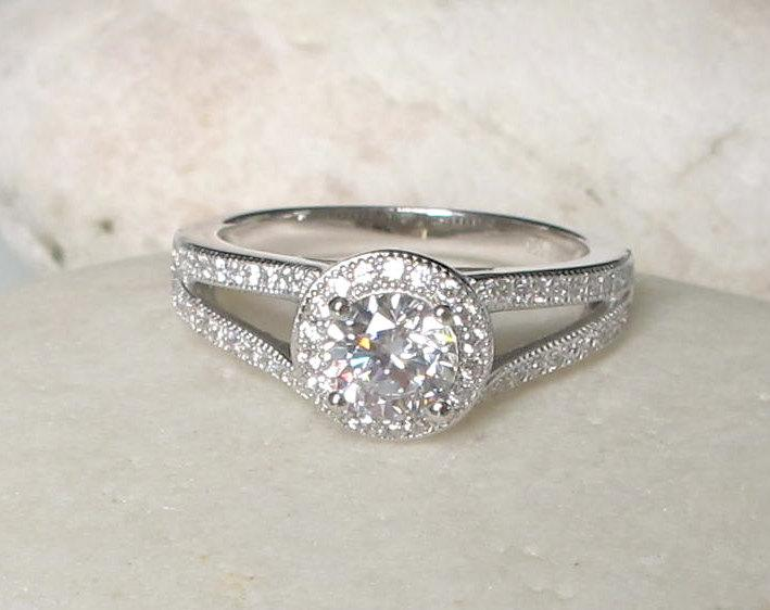 0 75 Carat Unique Deco Engagement Ring Simple Halo Promise For Her Wedding Cubic Zirconia 925 Silver