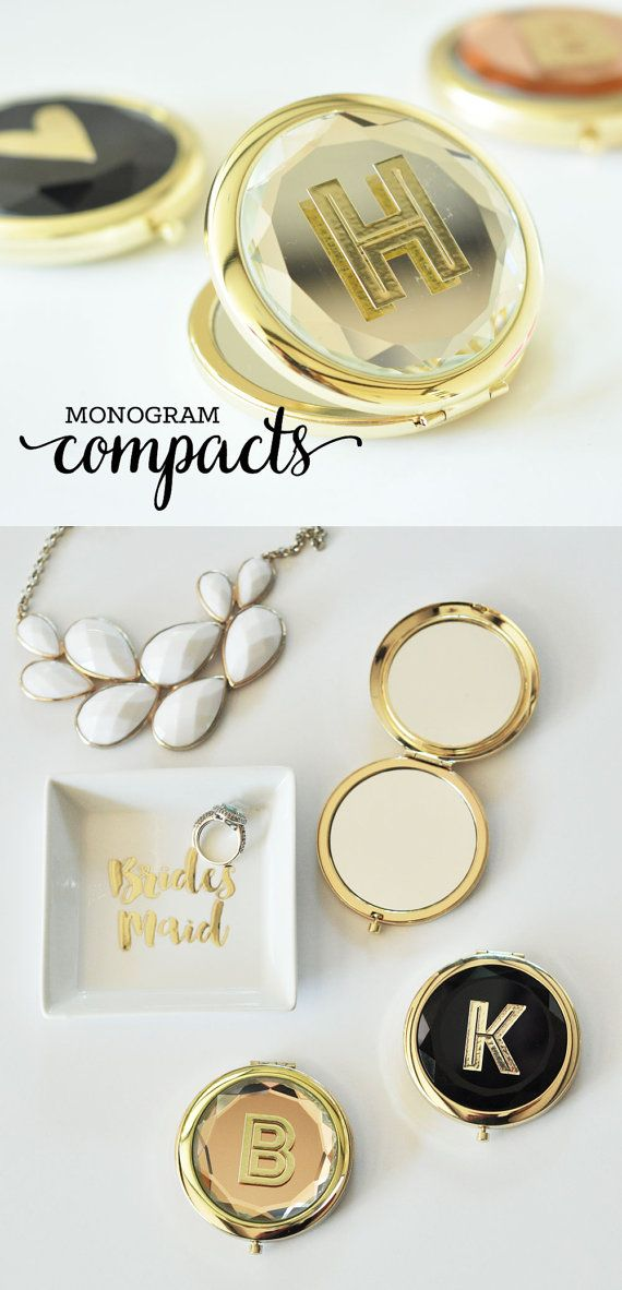 Maid Of Honor Gift Sister Gifts For Bridesmaid Ideas Personalized Monogram Compact Eb3137