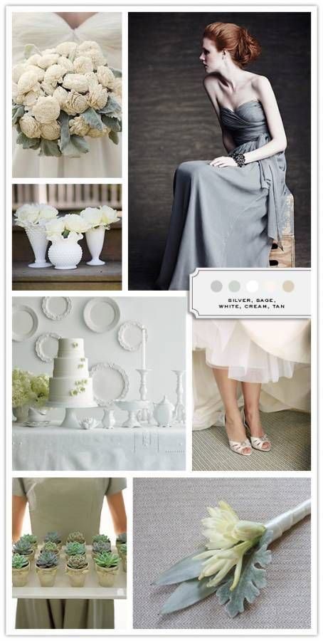 Color Palette Silver Sage White Cream Tan Inspired Bride