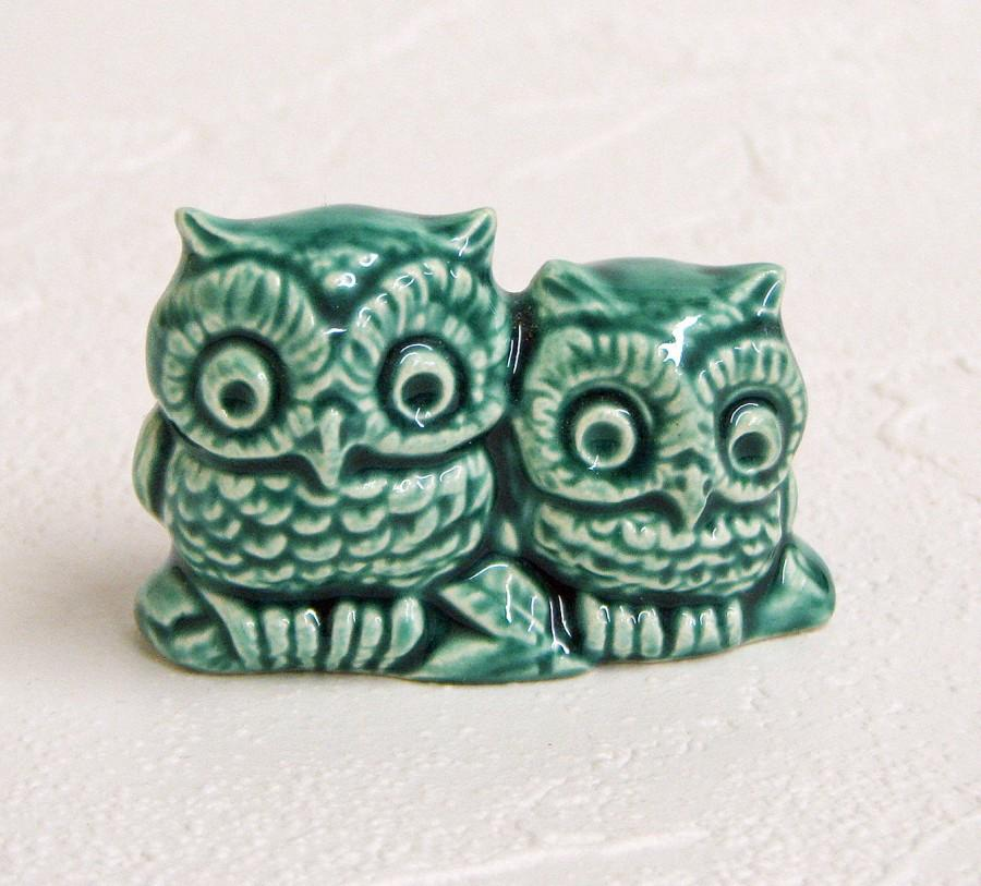 ceramic owl wedding cake toppers tiny green owls handmade kiln fired miniature ceramic bird 12489