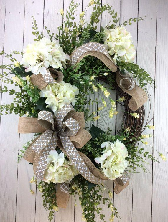 Front Door Wreath Hydrangea White Spring Summer All Season