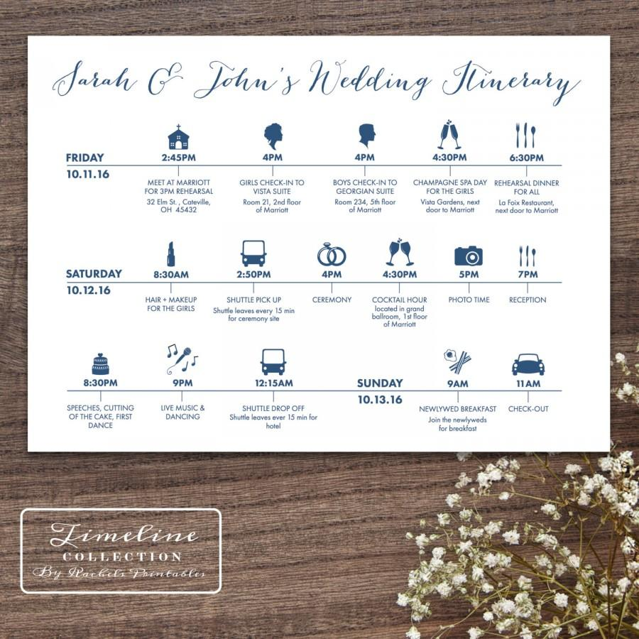Printable Wedding Timeline Day Of Itinerary Schedule Card Three Lines 5 X 7 Multi Weekend