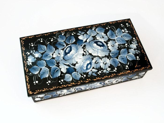 Rustic Wooden Box Painted Storage Decorative Wood Gift Ideas Women Jewelry 5th Anniversary For Mom Aunt
