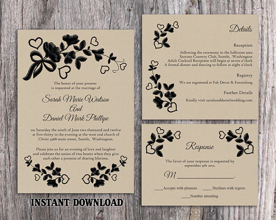 Diy Lace Wedding Invitation Template Set Editable Word File Printable Rustic Burlap Vintage Fl